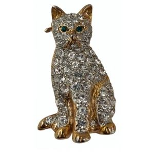 Vintage cat 🐈 brooch pavé clear crystals